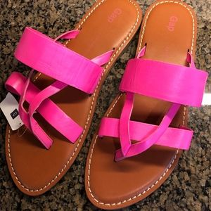GAP Leather Pink Sandals Multi Strap Thong NEW NWT